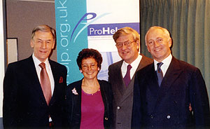 from left to right: Christopher Jonas, ProHelp National, Chairman/Rosanna Henderson, ProHelp-London, Manager/ Hans Haenlein, ProHelp-London, Co-chairman/Simon Camamile, ProHelp-London, Co-chairman.